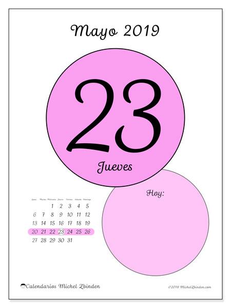 Calendario mayo 2019, 45-23LD. Calendario para el día para imprimir gratis.