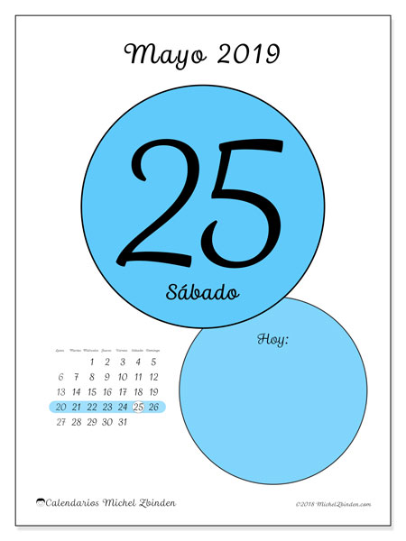 calendarios diarios mayo 2019  45ld