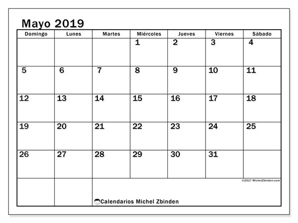 Calendarios para imprimir 2019 (DS). Calendario 50DS.