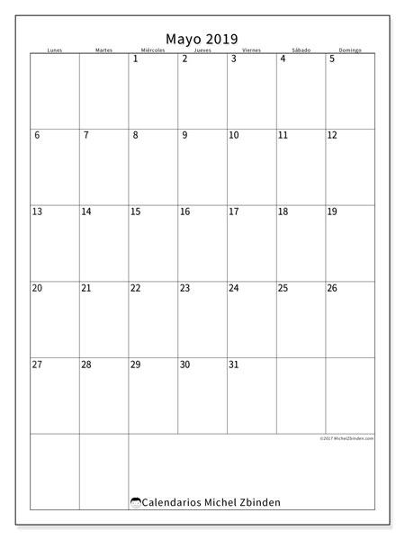 Calendario mayo 2019, 52LD. Almanaque para imprimir gratis.