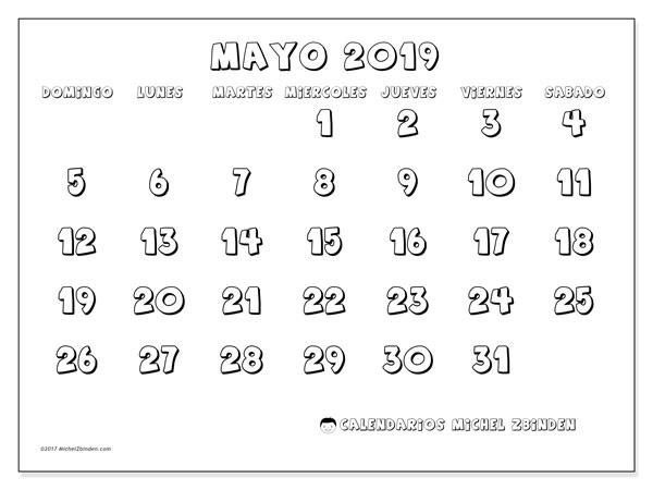 Calendario Mayo 2019 56ds Michel Zbinden Es