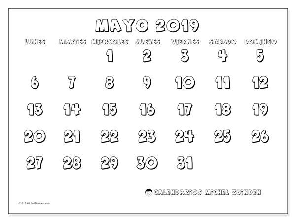 Calendario Mayo 2019 56ld Michel Zbinden Es