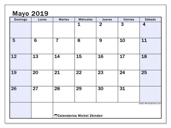 Calendario De Mayo De 2019