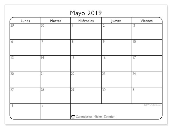Calendario mayo 2019, 74LV. Calendario mensual para imprimir gratis.
