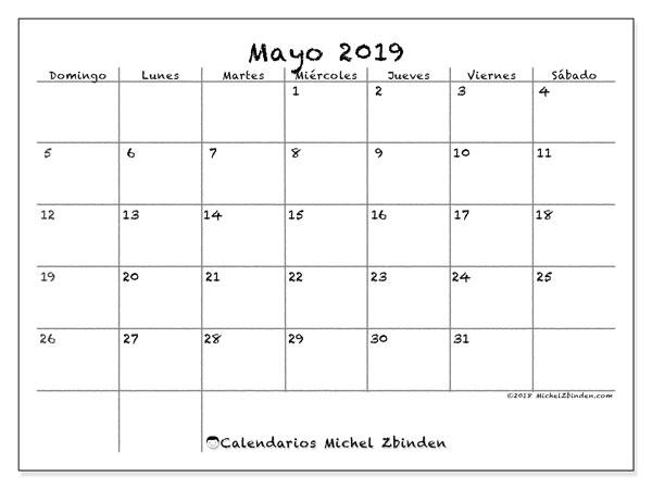 Calendario Para Escribir.Calendario Mayo 2019 77ds Michel Zbinden Es