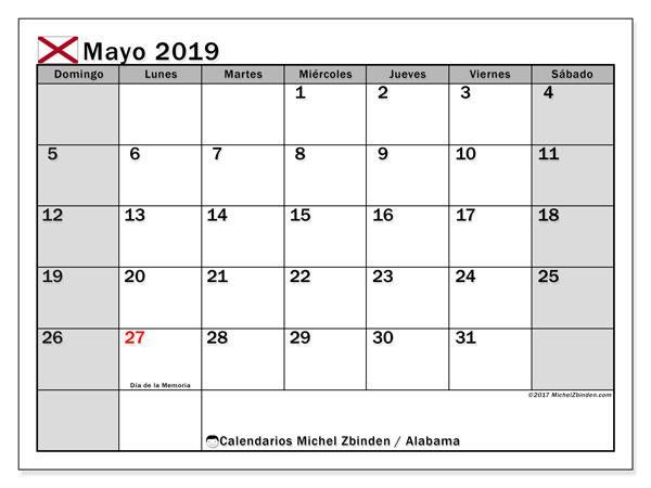Calendario mayo 2019, con días feriados de Alabama. Calendario vacaciones y festivos para imprimir gratis.