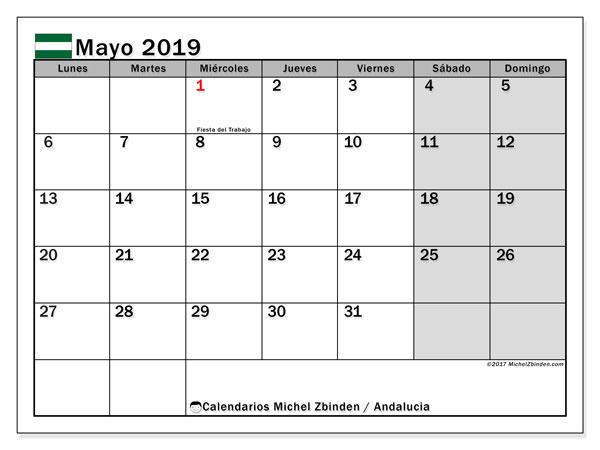 Calendario mayo 2019, con los días festivos de Andalucia. Planificación para imprimir gratis.