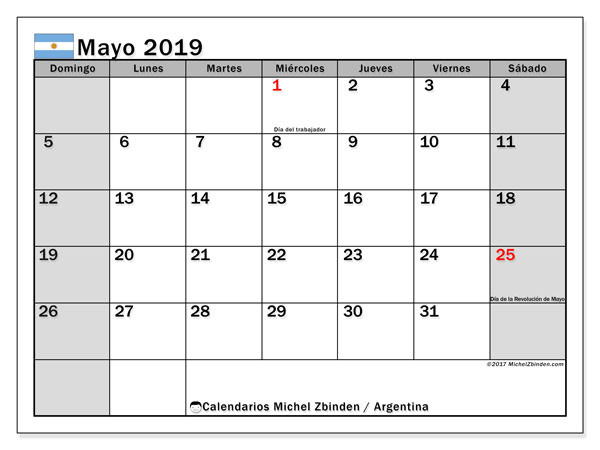 Calendario mayo 2019, con los días feriados en Argentina. Calendario imprimible gratis.