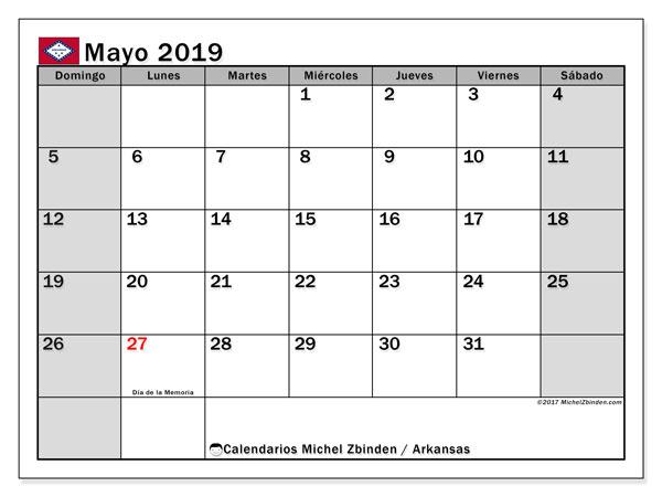 Calendario mayo 2019, con los días feriados de Arkansas. Calendario mensual para imprimir gratis.