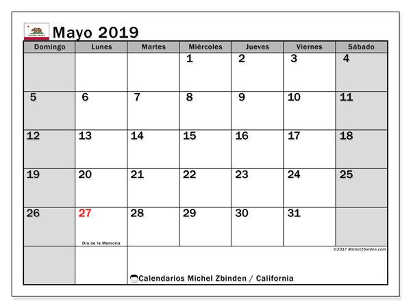 Calendario mayo 2019, con días feriados de California. Calendario vacaciones y festivos para imprimir gratis.