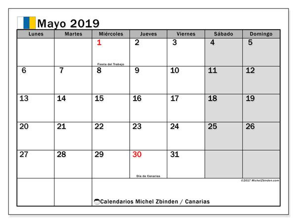 Calendario mayo 2019, con los días festivos de las Islas Canarias. Calendario gratuito para imprimir.