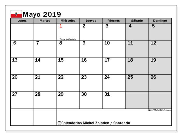Calendario mayo 2019, con los días festivos de Cantabria. Almanaque para imprimir gratis.