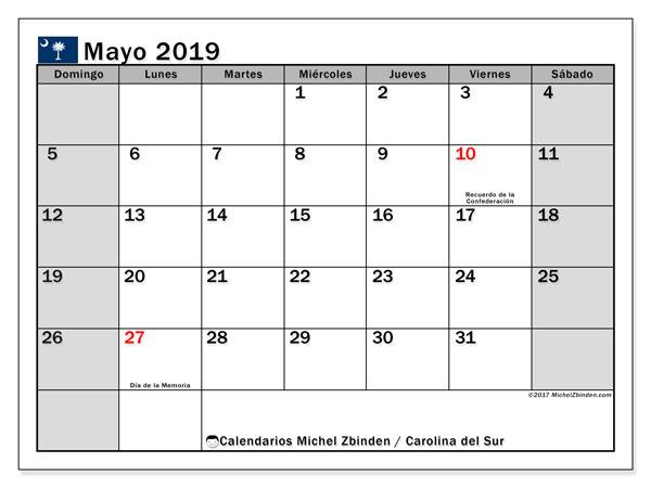 Calendario mayo 2019, con días feriados en Carolina del Sur. Calendario para imprimir gratis con días festivos.