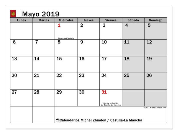 Calendario mayo de 2019 - Castilla-La Mancha. Calendario para imprimir: fiestas oficiales y días feriados.