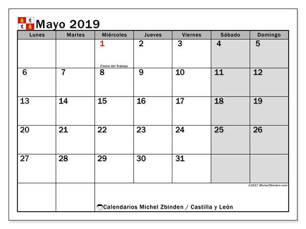 Calendario mayo 2019, con los días festivos de Castilla y León. Calendario imprimible gratis.