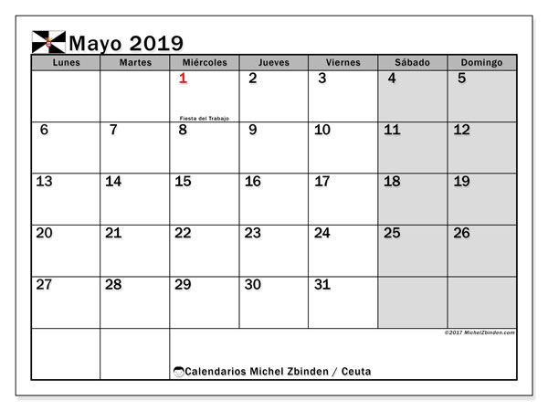 Calendario mayo 2019, con días feriados en Ceuta. Calendario vacaciones y festivos para imprimir gratis.