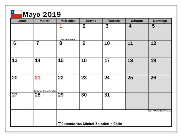 Calendario mayo 2019, con los días feriados para Chile. Almanaque para imprimir gratis.