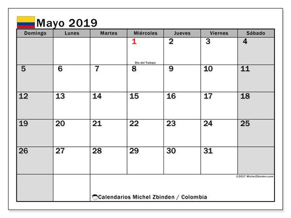 Calendario mayo 2019, con los días festivos en Colombia. Calendario mensual para imprimir gratis.
