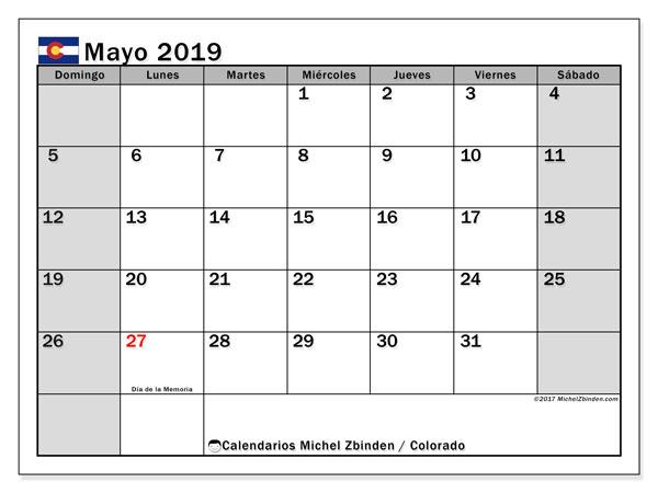 Calendario mayo 2019, con los días feriados enColorado. Calendario para el mes para imprimir gratis.