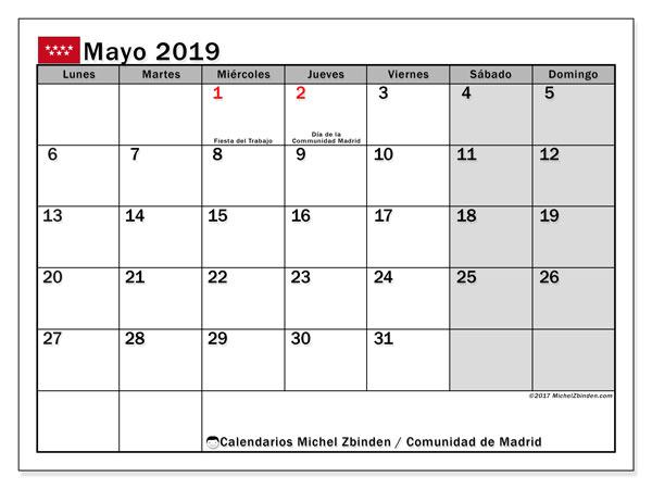 Calendario mayo 2019, con los días festivos de la Comunidad de Madrid. Calendario mensual para imprimir gratis.