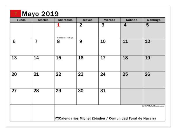 Calendario mayo 2019, con los días festivos para la Comunidad Foral de Navarra. Calendario imprimible gratis.