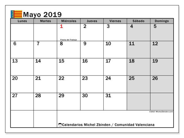 Calendario mayo 2019, con los días festivos de la Comunidad Valenciana. Calendario para imprimir gratis.