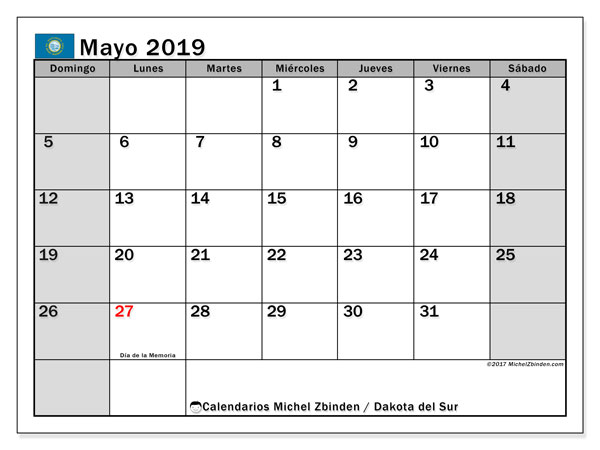 Calendario mayo 2019, con los días feriados de Dakota del Sur. Calendario para imprimir gratis.