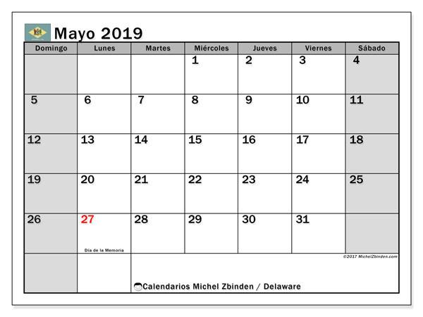 Calendario mayo 2019, con los días feriados de Delaware. Calendario para el mes para imprimir gratis.
