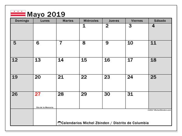 Calendario mayo 2019, con días feriados del Distrito de Columbia. Calendario para imprimir gratis con días festivos.