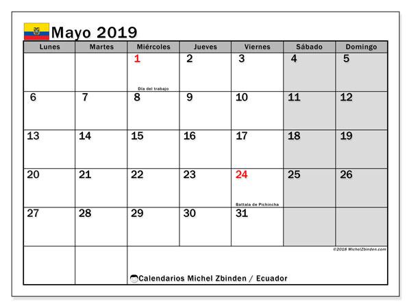 Calendario mayo 2019, con días feriados en Ecuador. Calendario vacaciones y festivos para imprimir gratis.
