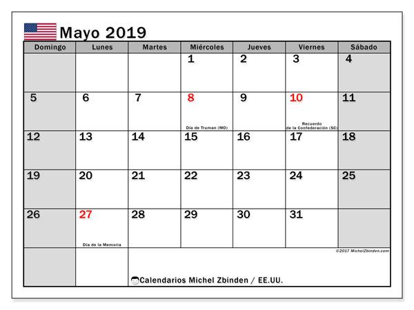 Calendario mayo 2019, con los días feriados en EE.UU.. Planificación para imprimir gratis.