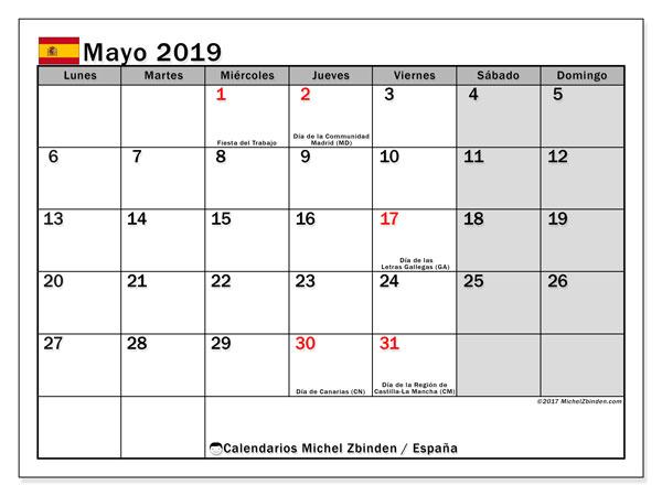 Calendario mayo 2019, con los días festivos de España. Planificación para imprimir gratis.