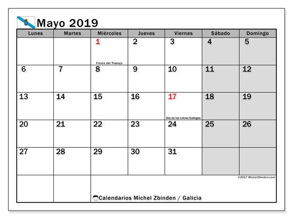 Calendario mayo de 2019 - Galicia. Calendario para imprimir: fiestas oficiales y días festivos.