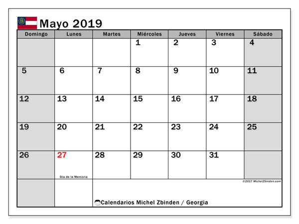 Calendario mayo 2019, con los días feriados de Georgia. Calendario para el mes para imprimir gratis.