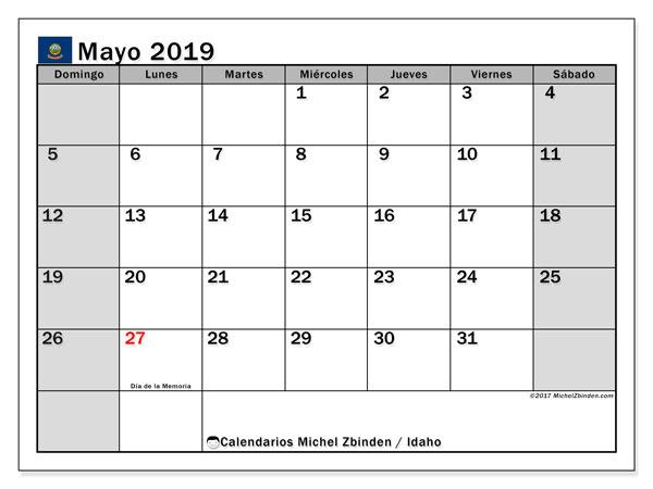 Calendario mayo 2019, con días feriados de Idaho. Calendario para imprimir gratis con días festivos.