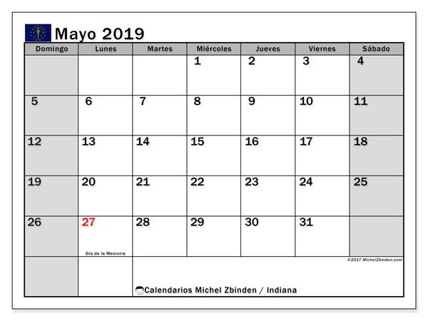 Calendario mayo 2019, con los días feriados de Indiana. Planificación para imprimir gratis.