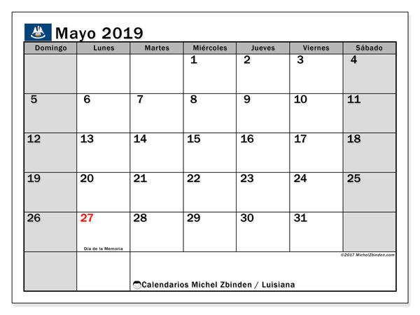Calendario mayo 2019, con días feriados en Luisiana. Calendario vacaciones y festivos para imprimir gratis.