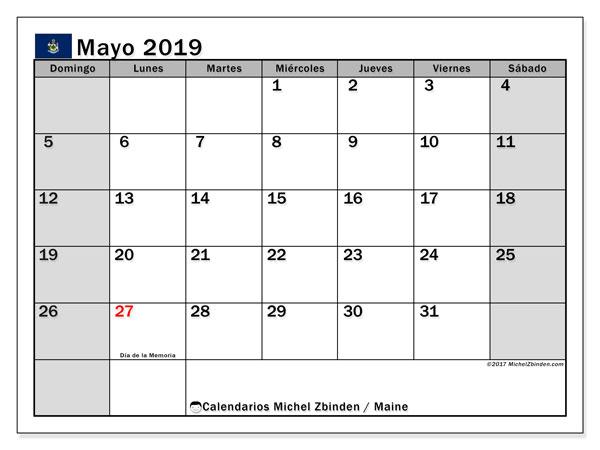 Calendario mayo 2019, con los días feriados en Maine. Calendario para el mes para imprimir gratis.