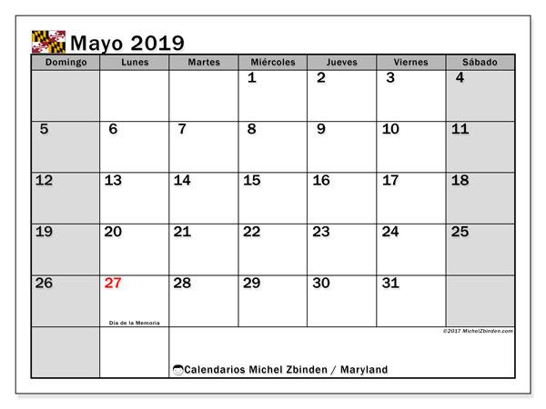 Calendario mayo 2019, con los días feriados en Maryland. Calendario imprimible gratis.