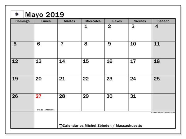 Calendario mayo 2019, con días feriados en Massachusetts. Calendario para imprimir gratis con días festivos.