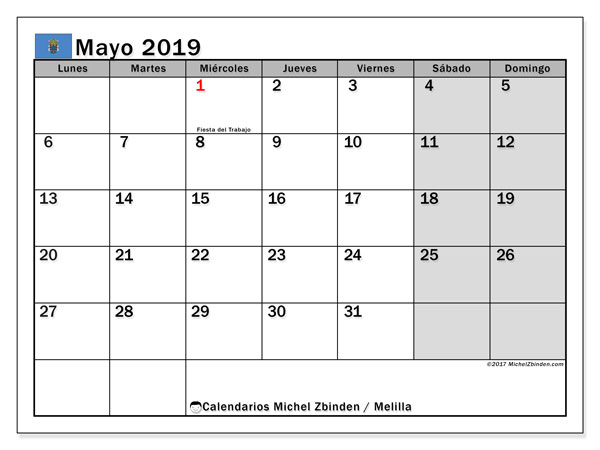 Calendario mayo 2019, con los días festivos de Melilla. Calendario gratuito para imprimir.