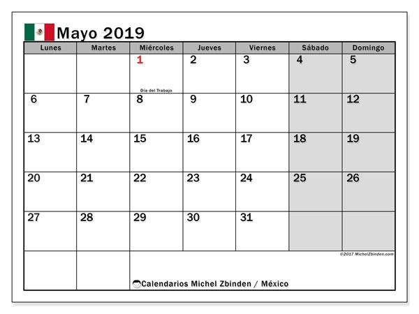 Calendario mayo 2019, con los días feriados en México. Calendario para imprimir gratis.