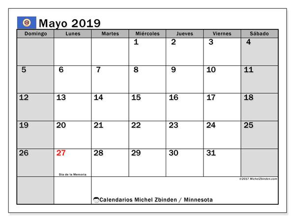Calendario mayo 2019, con los días feriados de Minnesota. Calendario para el mes para imprimir gratis.
