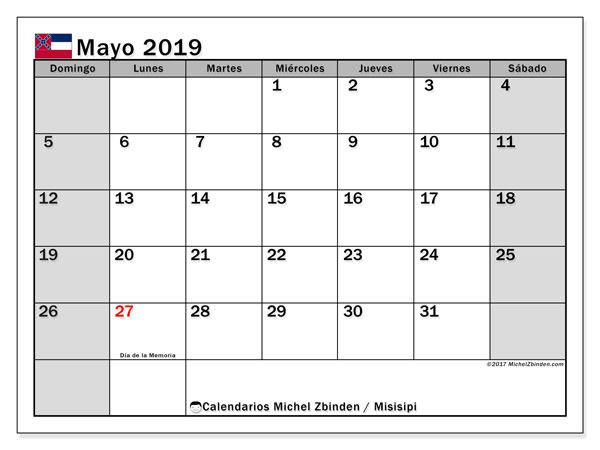 Calendario mayo 2019, con los días feriados de Misisipi. Planificación para imprimir gratis.