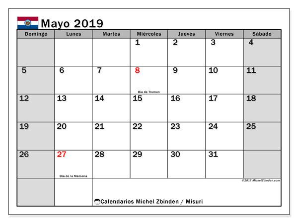 Calendario mayo 2019, con días feriados en Misuri. Calendario vacaciones y festivos para imprimir gratis.