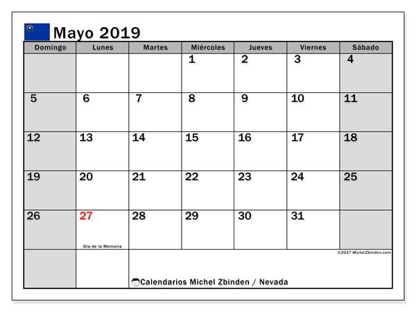 Calendario mayo 2019, con días feriados en Nevada. Calendario vacaciones y festivos para imprimir gratis.