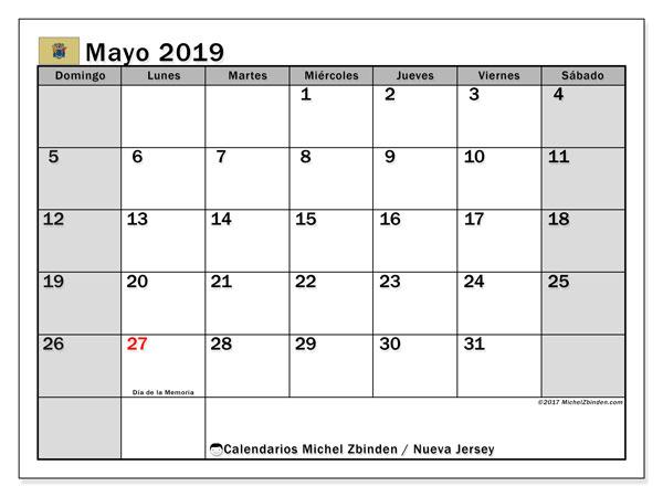 Calendario mayo 2019, con los días feriados de Nueva Jersey. Calendario gratuito para imprimir.