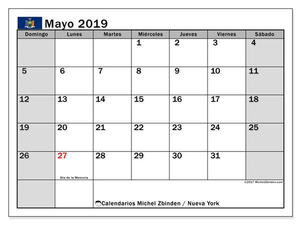 Calendario mayo 2019, con los días feriados de Nueva York. Planificación para imprimir gratis.
