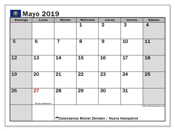 Calendario mayo 2019, con días feriados en Nuevo Hampshire. Calendario vacaciones y festivos para imprimir gratis.