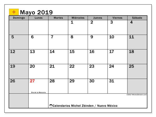 Calendario mayo 2019, con días feriados en Nuevo México. Calendario para imprimir gratis con días festivos.